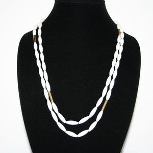 """Vintage white and gold beaded MONET necklace 52"""""""